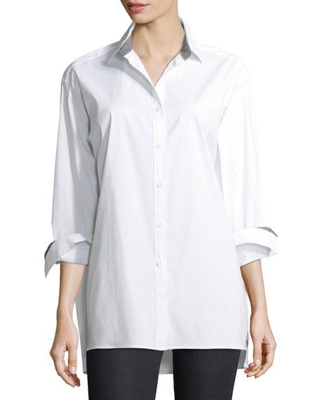 Jessie Long-Sleeve Stretch-Cotton Blouse, Plus Size, White