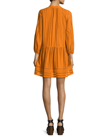 Sunita 3/4-Sleeve Shirred Cotton Dress, Turmeric