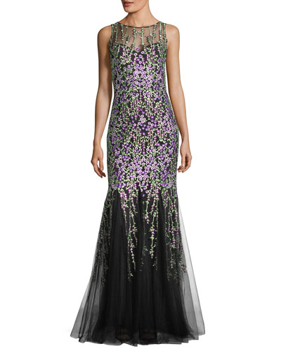 Sleeveless Floral-Embroidered Tulle Mermaid Gown