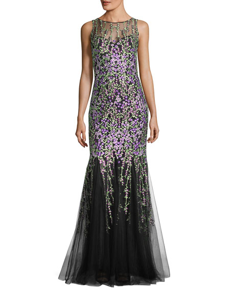 Badgley Mischka Sleeveless Floral-Embroidered Tulle Mermaid Gown