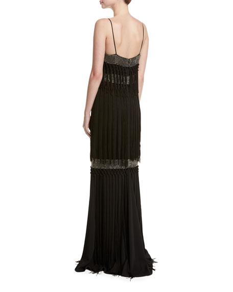 Sleeveless Embellished Tiered Fringe Gown