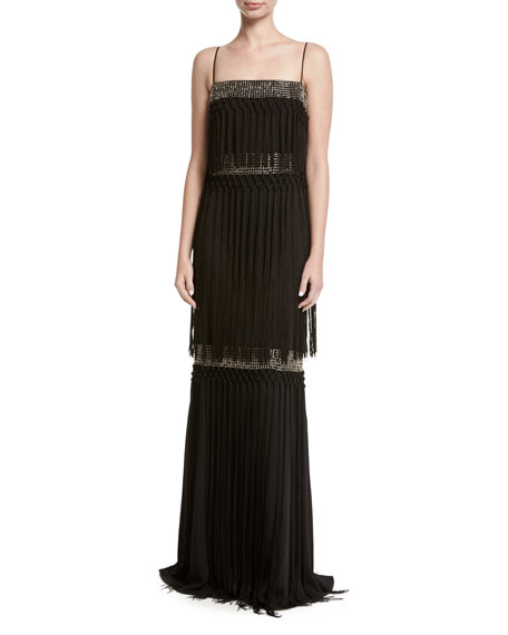 Badgley Mischka Sleeveless Embellished Tiered Fringe Gown