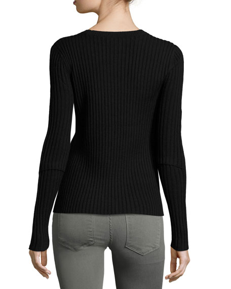 Overlap Rib Sweater, Red