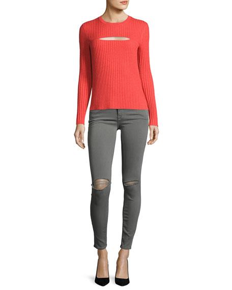 Overlap Rib Sweater, Red