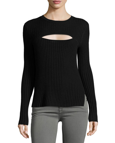 FRAME Overlap Rib Sweater, Red