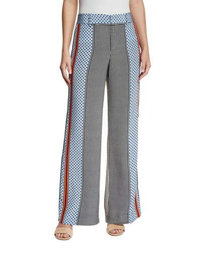 Mixed-Print Silk Wide-Leg Trousers, Light Pumice