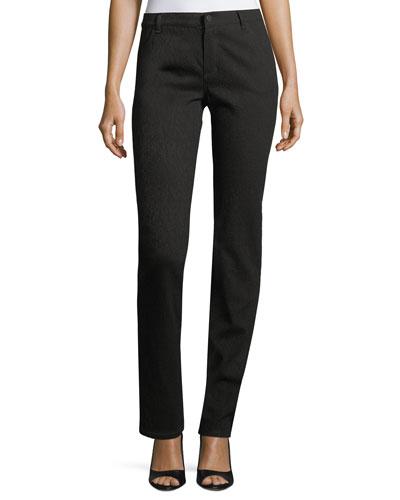 Thompson Snakeskin Stretch-Jacquard Slim-Leg Jeans