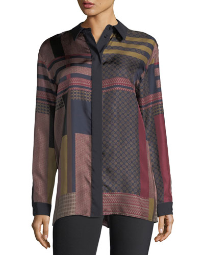 Sabel Button-Front Arcadian Patchwork Silk Blouse
