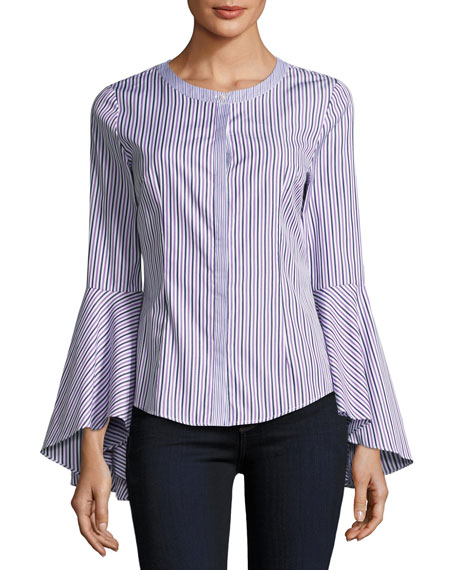 Michelle Bell-Sleeve Striped Shirting Blouse