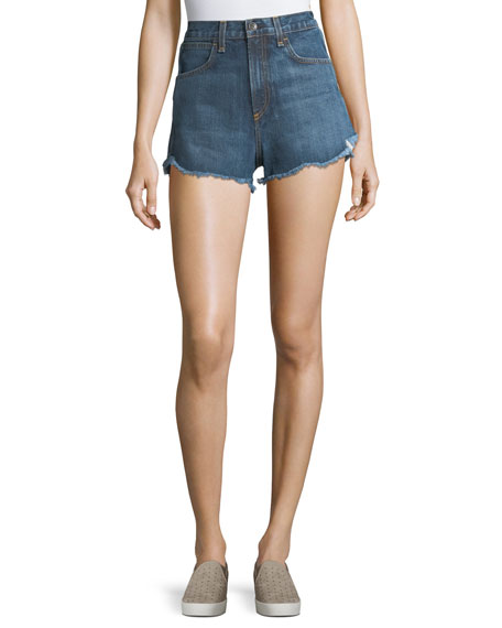Lou High-Waist Cutoff Denim Shorts