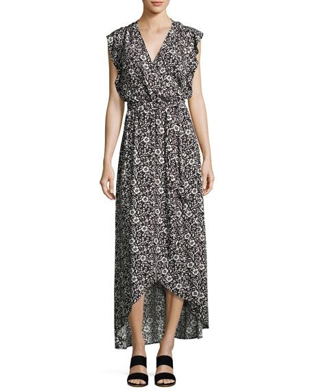 Floral-Printed Wrap Maxi Dress