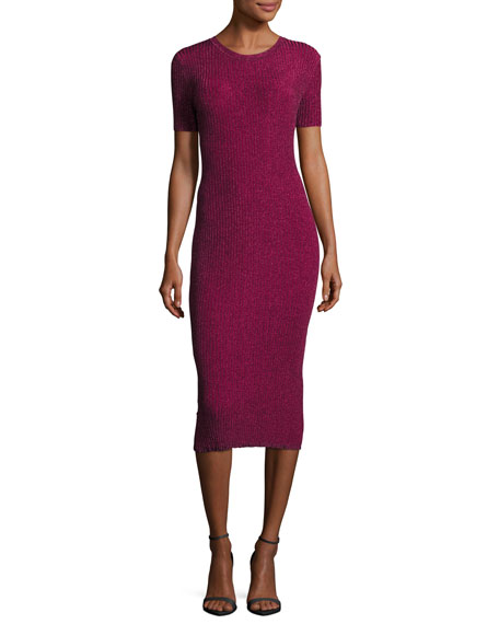 Milly Stardust Short-Sleeve Ribbed Sheath Dress