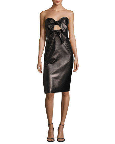 Milly Mackenzie Lightweight Lambskin Leather Sweetheart Dress