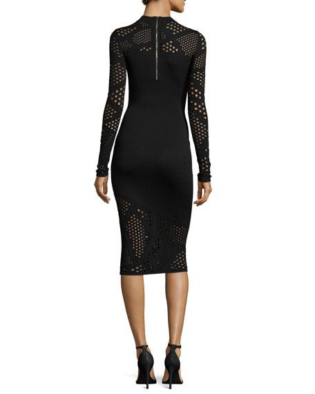 Long-Sleeve Fractured Pointelle Sheath Dress