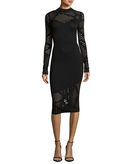 Milly Long-Sleeve Fractured Pointelle Sheath Dress