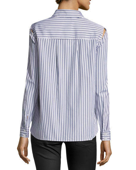 Cassie Button-Front Striped Shirting Top