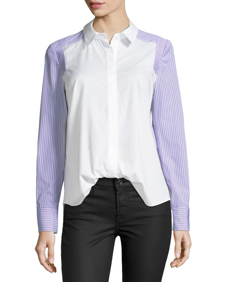 Taylor Long-Sleeve Button-Front Striped Shirting Top