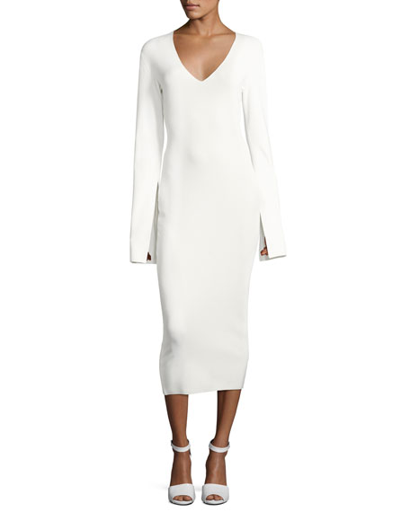 Raina V-Neck Fitted Midi Dress, Cream