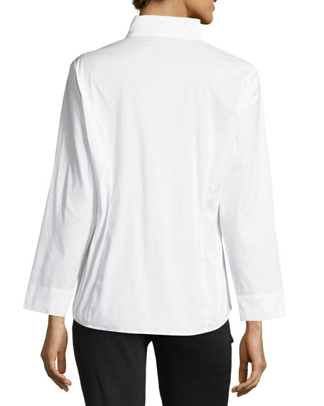Long-Sleeve Stretch-Cotton Shirt, Petite