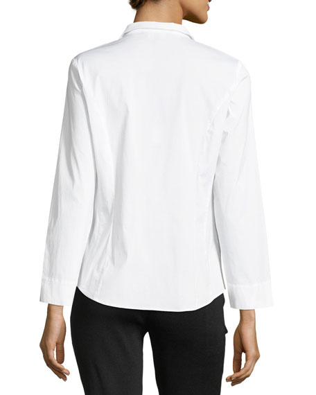 Long-Sleeve Stretch-Cotton Shirt, Plus Size