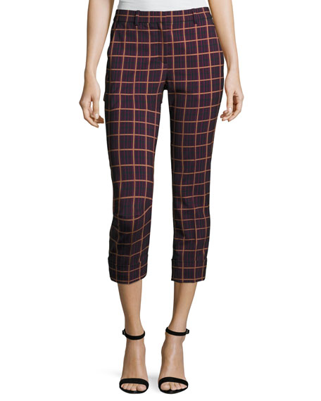 Theory Crop Cuff York Plaid Pants, Purple and