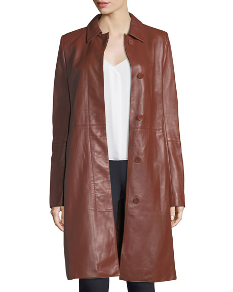 Theory Wilmore Leather Tie-Waist Mod Coat and Matching