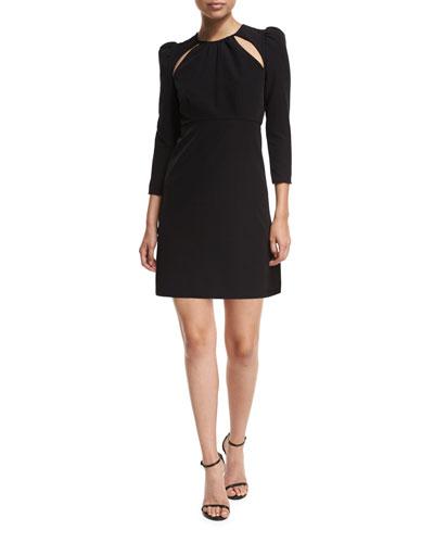 Emma 3/4-Sleeve Cutout Italian Cady Cocktail Dress