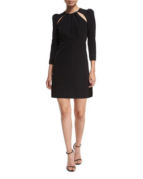 Milly Emma 3/4-Sleeve Cutout Italian Cady Cocktail Dress