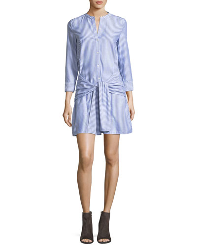 Stella Tie-Front Striped Poplin Shirtdress