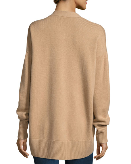 Oversized Open-Front Cashmere Cardigan