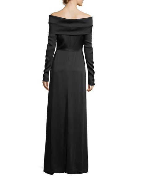 Off-the-Shoulder Long-Sleeve Elegant Maxi Dress
