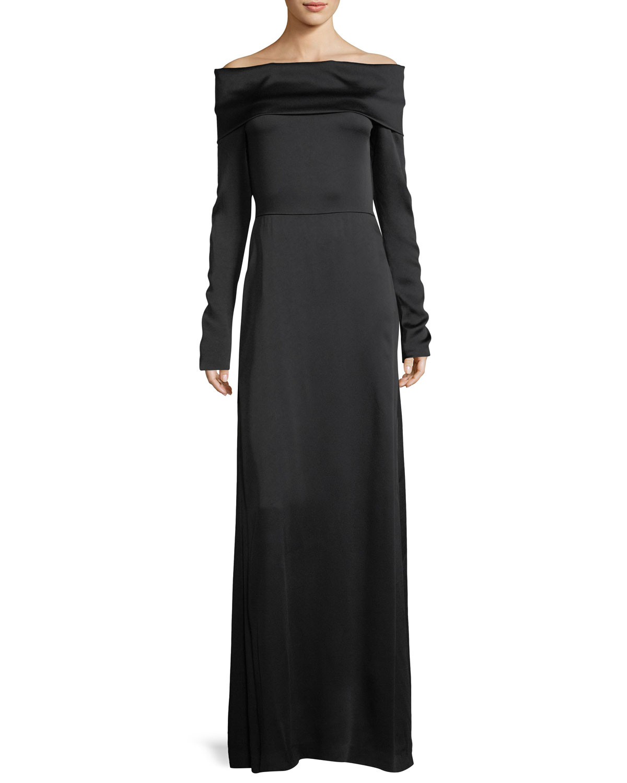 5e5e18e9d97f Theory Off-the-Shoulder Long-Sleeve Elegant Maxi Dress
