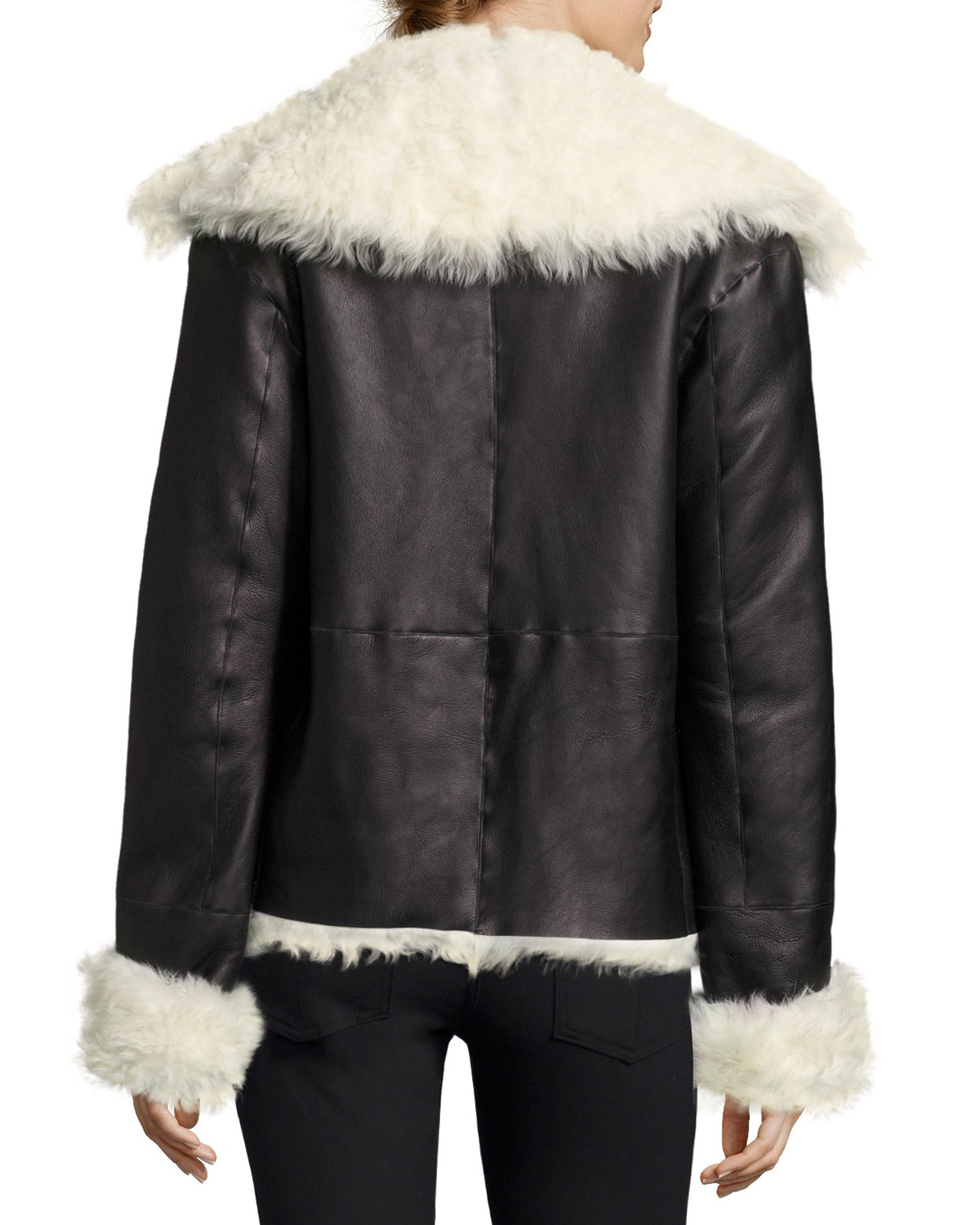 80158e149bf Theory Curly Toscana Shearling Fur Leather Pea Coat, Black | Neiman Marcus