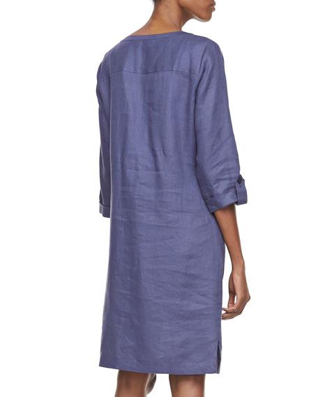 Linen Pocket-Front Shirtdress, Plus Size