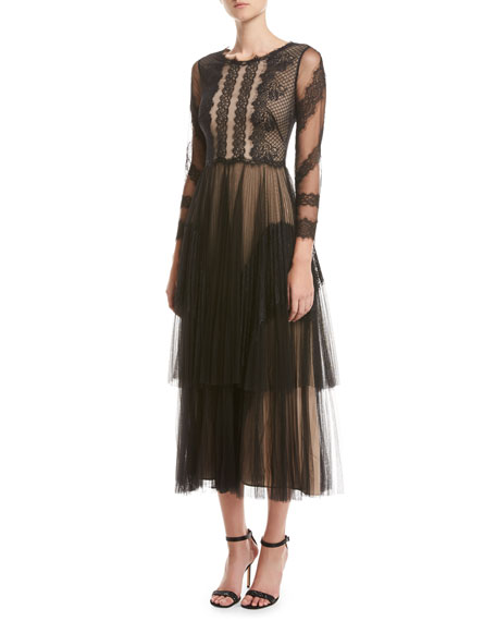 Marchesa Notte 3/4-Sleeve Two-Tiered Pleated Tulle Cocktail Dress