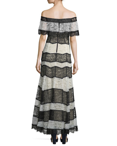 Anika Off-the-Shoulder Lace Evening Gown