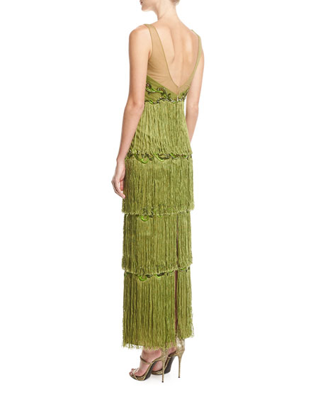 Sleeveless Tiered Fringe Gown w/ Beaded Bodice