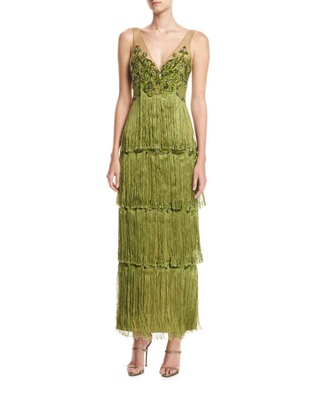 Marchesa Notte Sleeveless Tiered Fringe Gown w/ Beaded