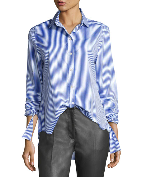 Thomas Striped Button-Front Tie-Cuff Shirt