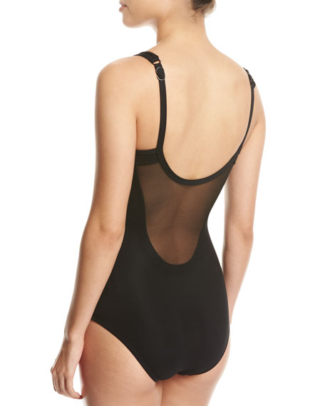 Aspire High-Neck Mesh One-Piece Swimsuit, Black (Available in DD-E Cups)