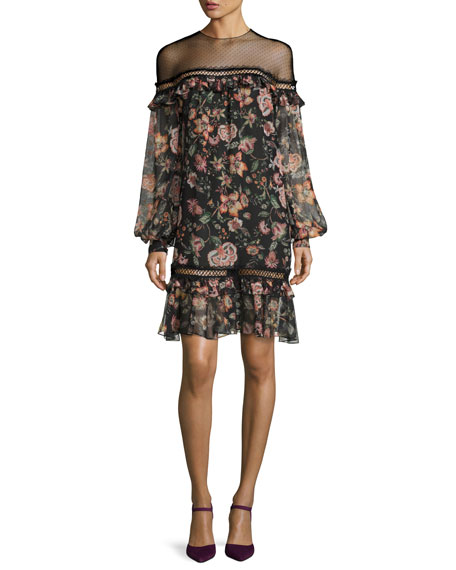 Callie Bishop-Sleeve Floral-Print Dress, Jet