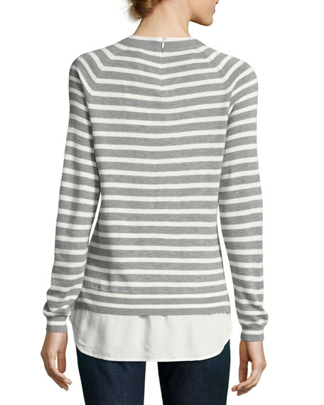 Joie zaan striped sweater shirt combo top neiman marcus for Sweater and dress shirt combo