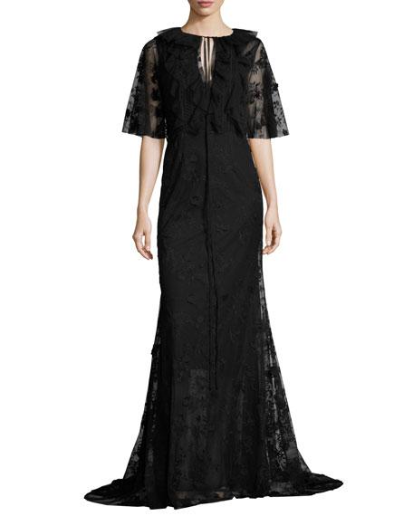 Neva Lace Capelet Gown, Jet