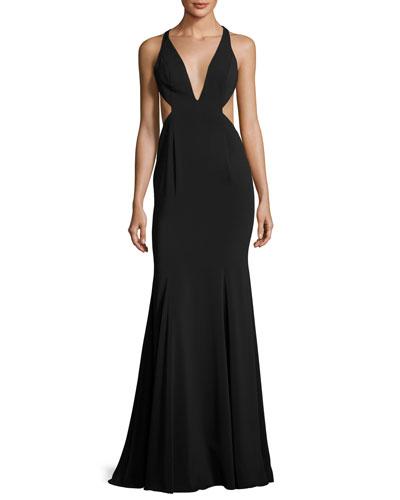 Deep V-Neck Mermaid Gown w/ Side Cutouts, Black