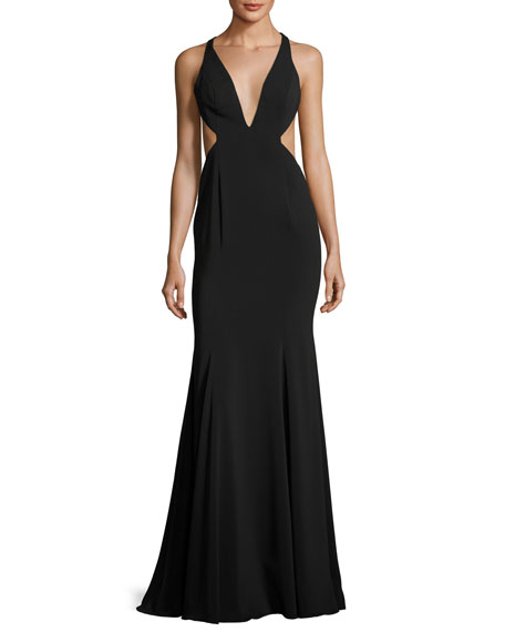 Jay Godfrey Deep V-Neck Mermaid Gown w/ Side