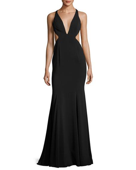 Jay Godfrey Deep V-Neck Mermaid Gown w/ Side