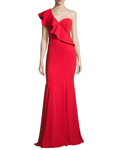 Jay Godfrey Bolt One-Shoulder Flounce Mermaid Gown, Red