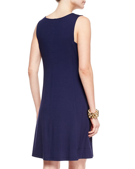 V-Neck Shaped Jersey Dress, Midnight