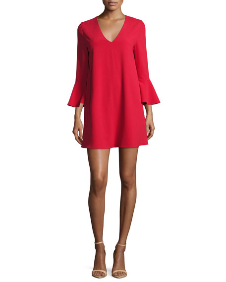 Alice + Olivia Tameika Trumpet-Sleeve Shift Dress