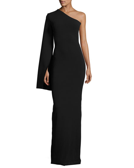 Solace London Ysabel One-Shoulder Maxi Dress, Black